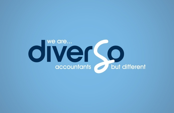 Diverso Accountants (Southampton) - Logo Design (Cyan Background)