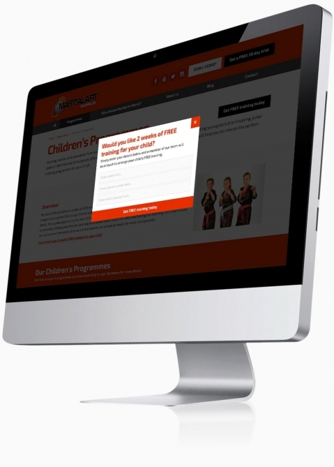 Martial Art World (Andover) - Website Design (Pop-up Contact Form)