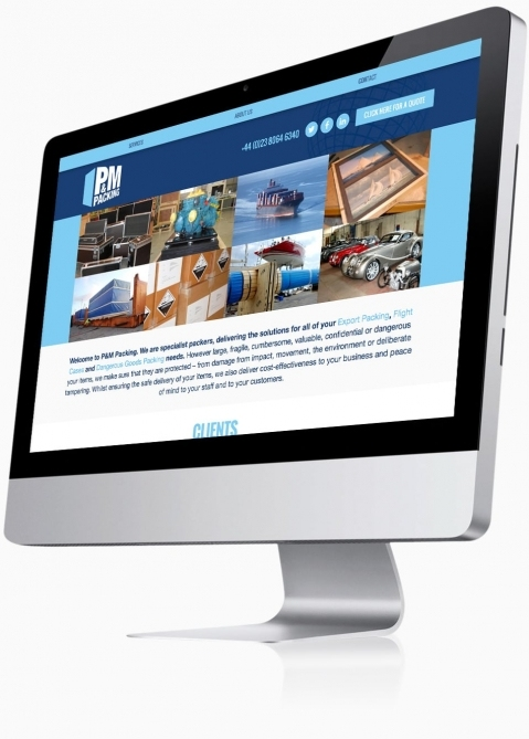 P&M Packing (Southampton) - Website Design (Home)