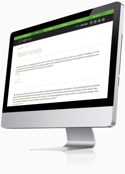 Videofrog Marketing (Winchester) - Website Design (Testimonials)