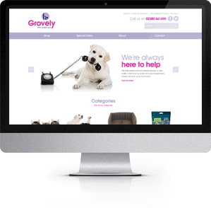 Responsive e-Commerce Website designed for Grovely Pet Supplies, Southampton